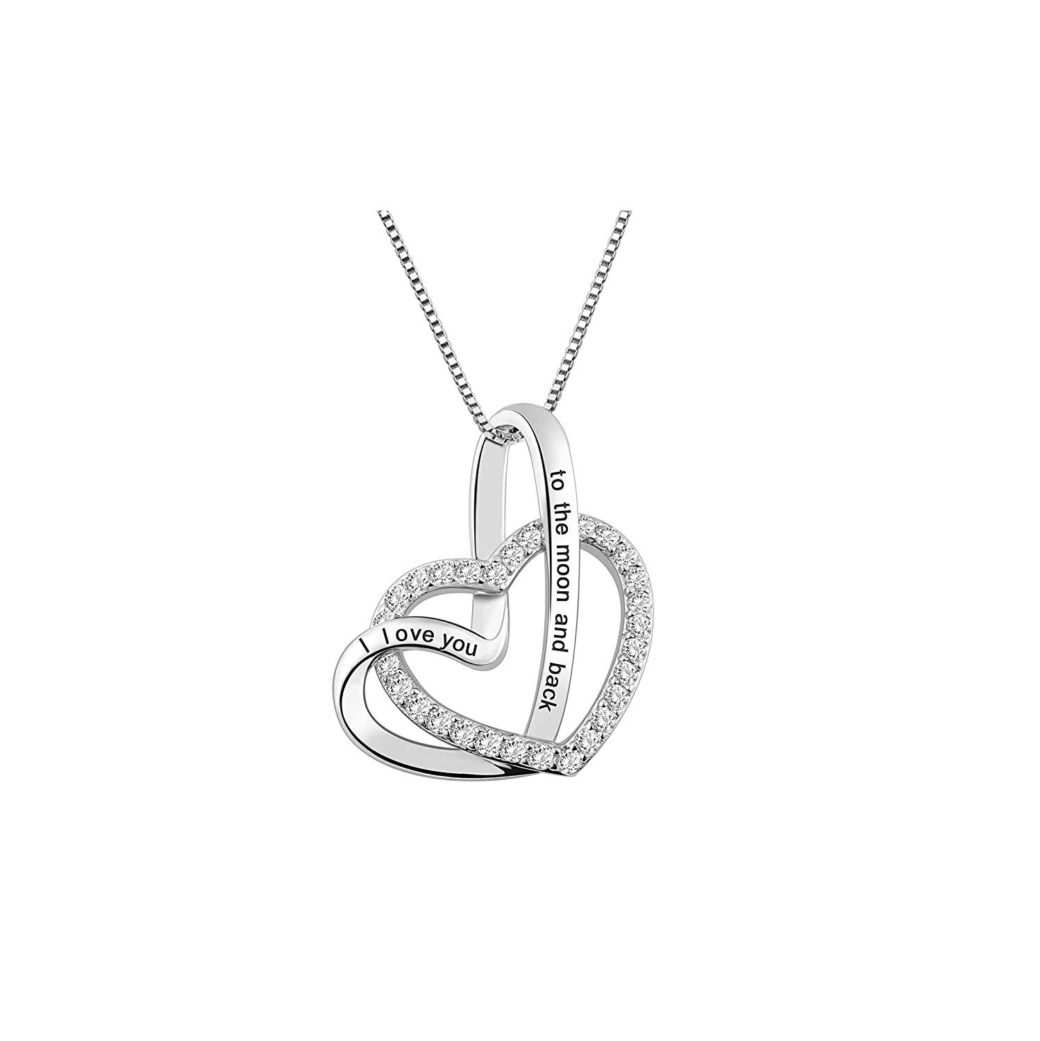 Getname Necklace Twist Double Heart I Love You to The Moon and Back Necklace Mother Daughter Necklack Sterling Silver Pendent for Couples