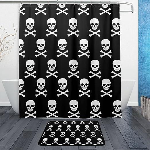 Red Skull Pattern Shower Curtain Liner Bathroom Mat Set Polyester Fabric Hooks