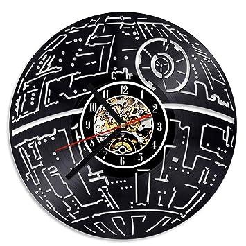 amp;ff Mcho Wars Murales Décoratif 3d Creux Horloges Led Record Star EH2Y9IeWDb