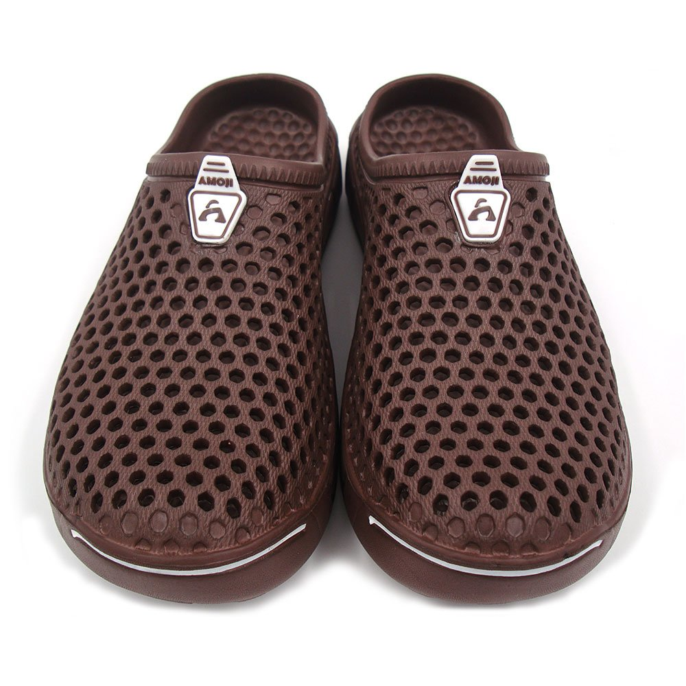 Amoji Unisex Garden Clogs Shoes Sandals House Slippers Room Shoes Indoor Outdoor Shower Shoes Sport Quick Dry Home Summer Breathable Light Walking Women Men Ladies AM1761 Brown 9US W/8US M