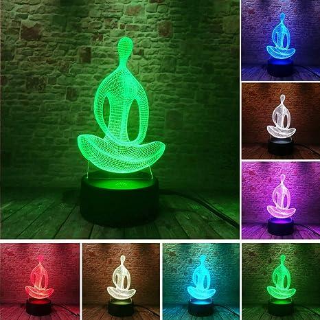 3D 7 Cambio De Color Yoga Led Meditación De Acrílico Noche ...