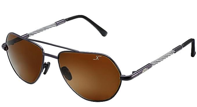 Xezo Freelancer - Gafas de sol de curva 6 de titanio y cable ...