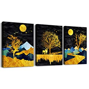 Outer Space Starlight Scenery golden Abstract Landscape Painting Wall Art for Bedroom Canvas Prints Star Sky Pictures Artwork Bathroom Wall Décor Abstract Home Decor for Office Living Room Decoration
