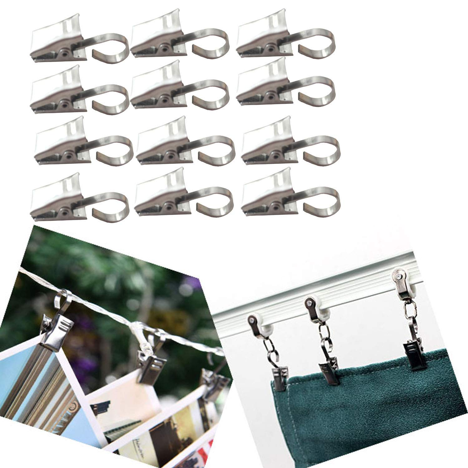Stainless Steel Curtain Clip String Party Lights Hanger Wire Holder for Showers, Bedroom, Living Room, Home Decoration, Photos, Art Craft Dispaly and Outdoor Activities Supplies (30 Hooks) Guang-T