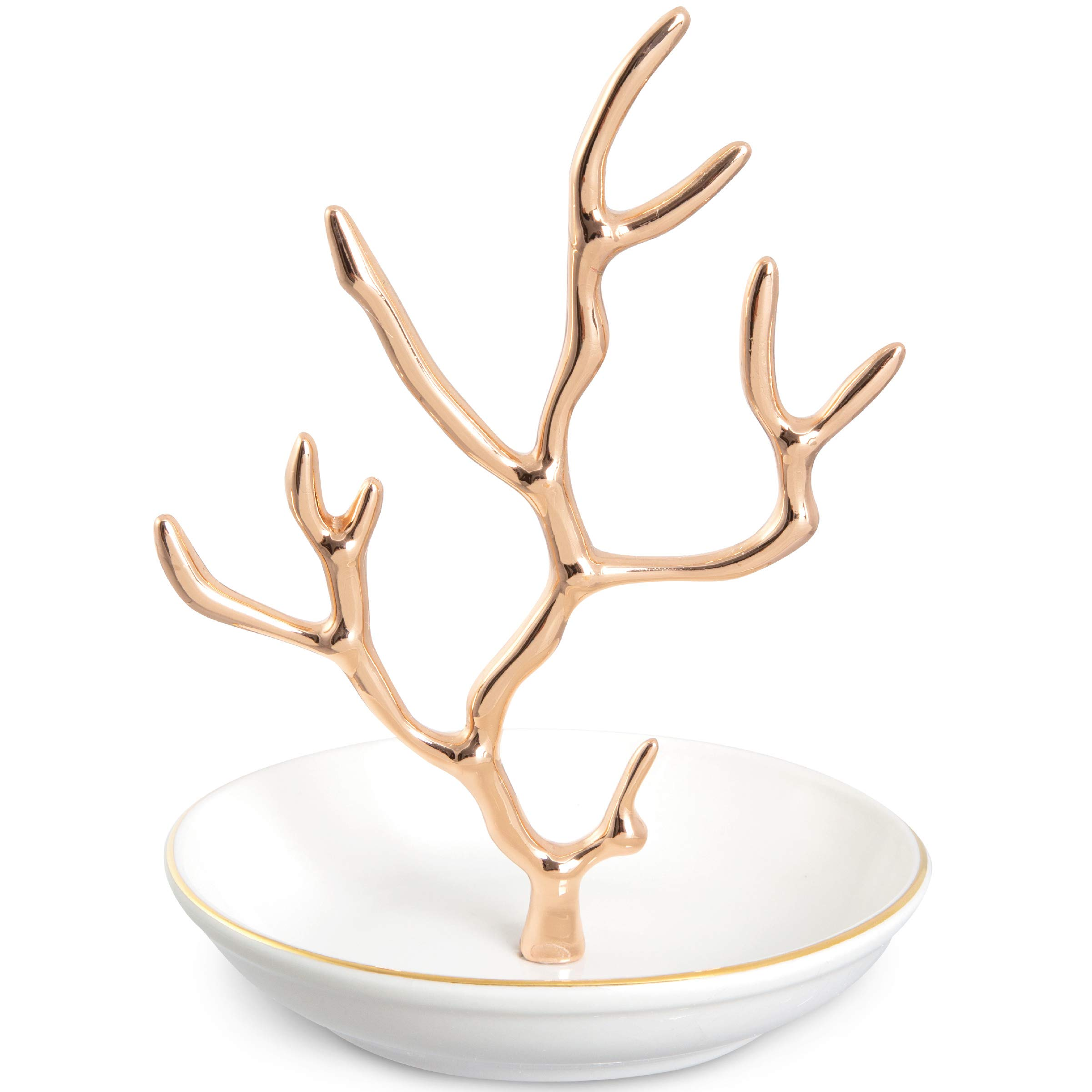 Laura Ashley Jewelry Organizer Necklace and Earring Holder for Women, Rose Gold Coral Tree Hanger Display Stand with White Bowl Tray Base, Stores Trinkets and Rings