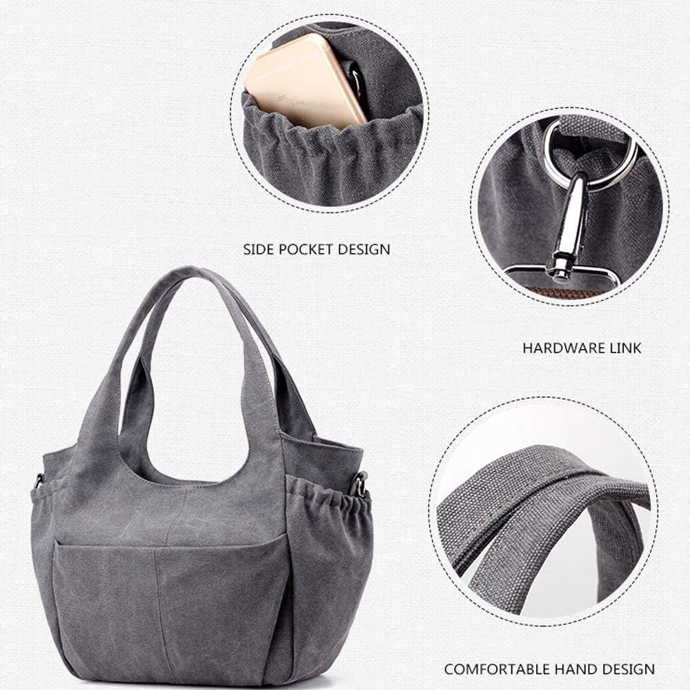 Borsa - Elegante indossabile, zaino di grande capienza della tela di canapa One-spalla for le signore, grigio/blu/marrone, 30x12x29cm borsa a tracolla (Color : Gray) Blue