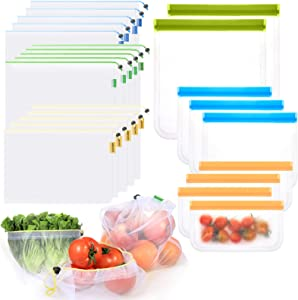 9 Food Grade Reusable Storage Bags and 15 Reusable Mesh Produce Bags - BPA Free - Eco-Friendly - Washable and See-Through - 3 Sizes