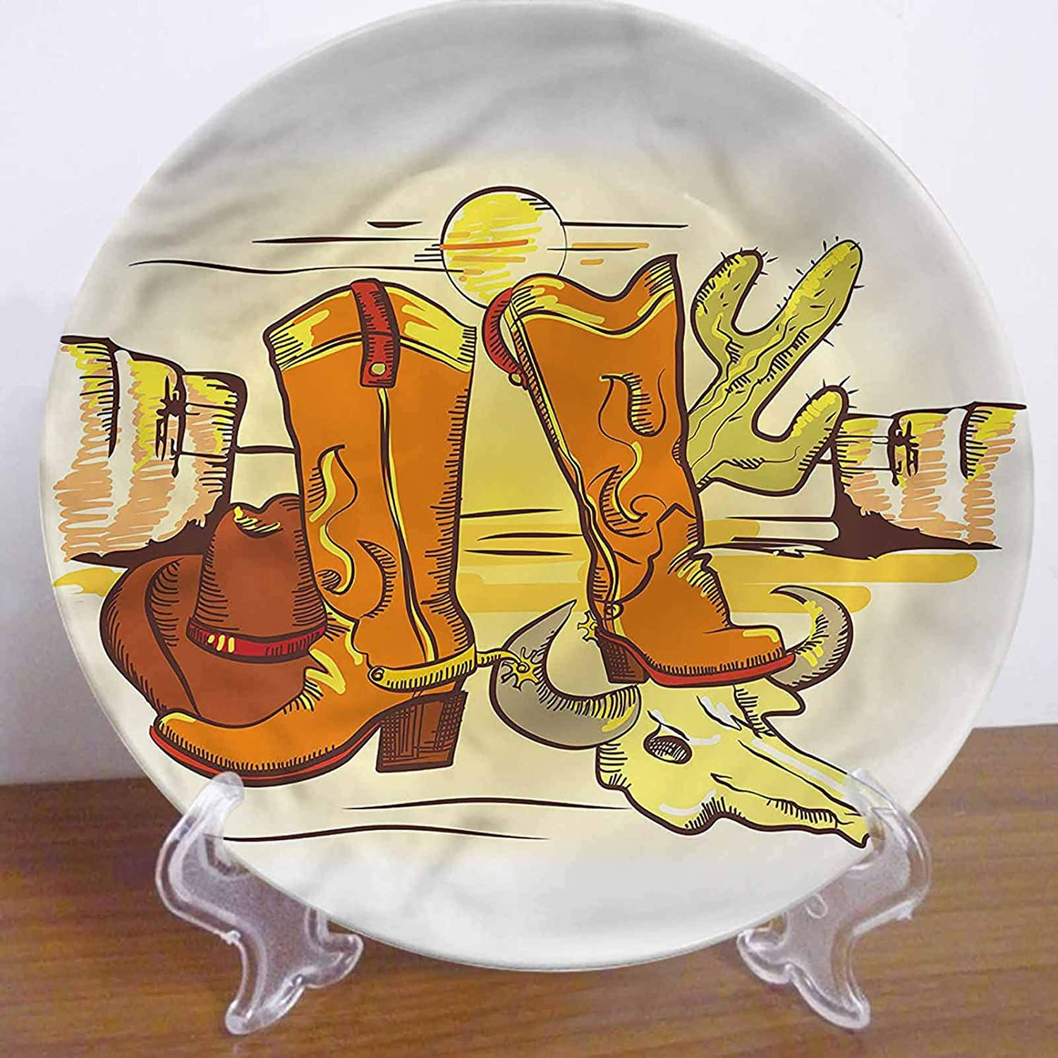 LCGGDB 8 Inch Western Pattern Ceramic Decorative Plate,Cowboy Accessories Boots Dinner Plate Decor Accessory for Dining, Parties, Wedding