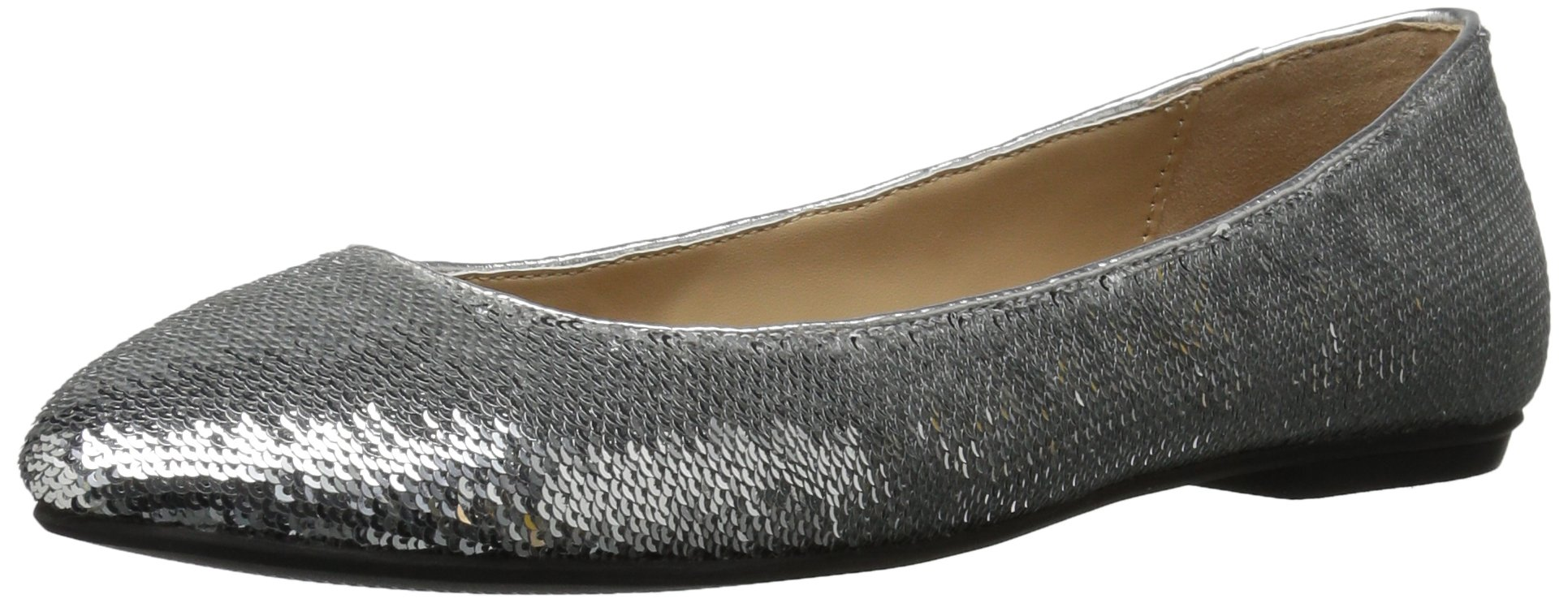 The Fix Women's Erica Round-Toe Sequin Ballet Flat, Silver Sequin, 10 B US