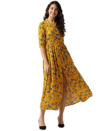 0d8c6965aa9 SERA Women's Yellow Pure Cotton A-Line Printed Maxi Top: Amazon.in ...