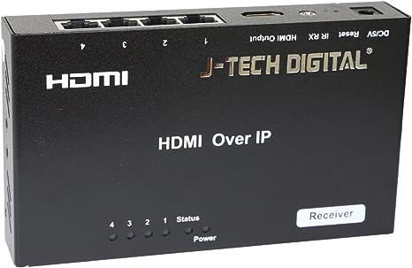 J-Tech Digital ProAV Unlimited N x N HDMI Extender Over Ethernet Cat6 Extender Matrix 12X12 8X8 Switch Switcher Extender by Single Ethernet Cable up to 400ft Receiver