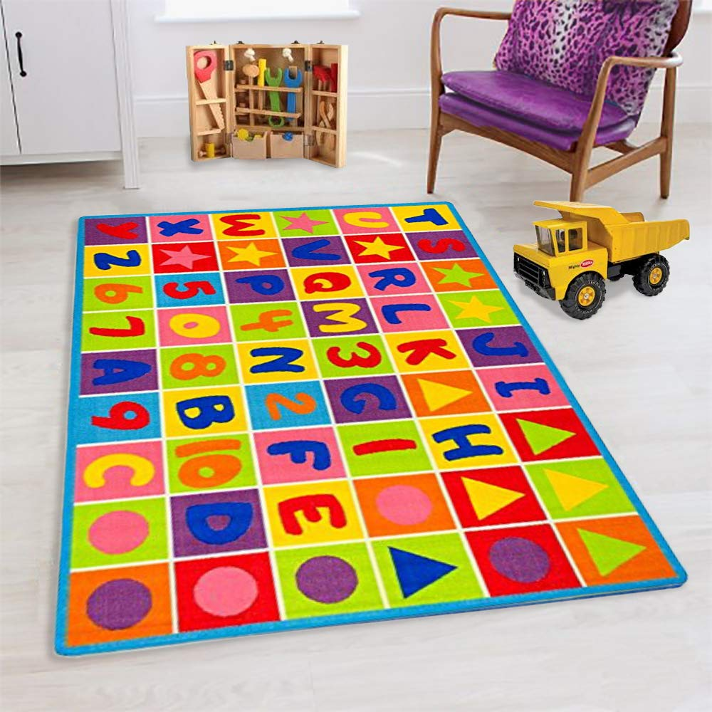 ABC Puzzle Letters and Numbers Kids Educational Play mat for School/Classroom / Kids Room/Daycare/ Nursery Non-Slip Gel Back Rug Carpet-(3 by 5 feet) Handcraft Rugs ltd-102
