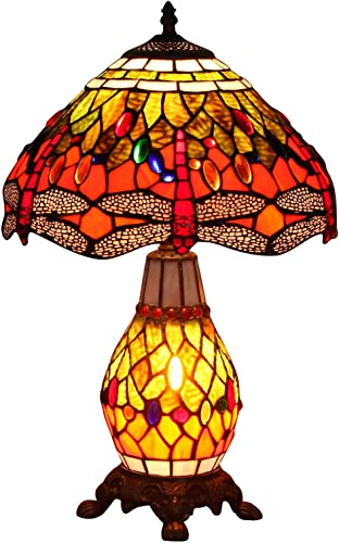Bieye L10566 Dragonfly Tiffany Style Stained Glass Table Lamp with 12-inch Wide Complicated Design Lampshade Lighted Base, Orange Green, 19-inch Tall