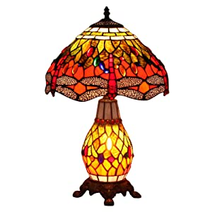 Bieye L10566 Dragonfly Tiffany Style Stained Glass Table Lamp with 12 Inch Wide Handmade Lampshade Lighted Base for Bedside Bedroom Living Room Coffee Table, Orange Green, 19-inch Tall