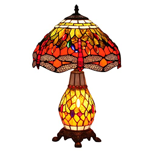 Bieye L10566 Dragonfly Tiffany Style Stained Glass Table Lamp with 12 Inch Wide Complicated Design Lampshade Lighted Base, Orange Green, 19-inch Tall