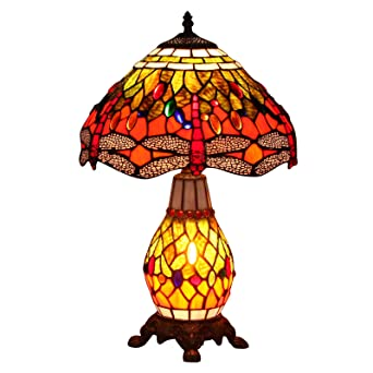 Bieye L10566 12 Inches Dragonfly Tiffany Style Stained Glass Table