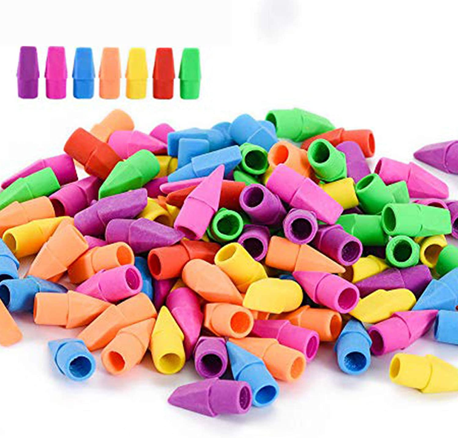 Pencil Top Erasers Rubbers Caps Tips Triangular Assorted Colours Pack of 10