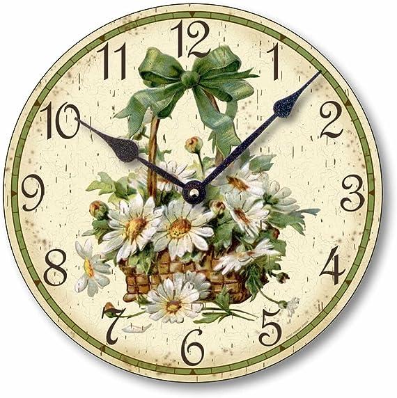 Fairy Freckles Studios Item C6030 Vintage Victorian Style 10.5 Inch Daisies Clock