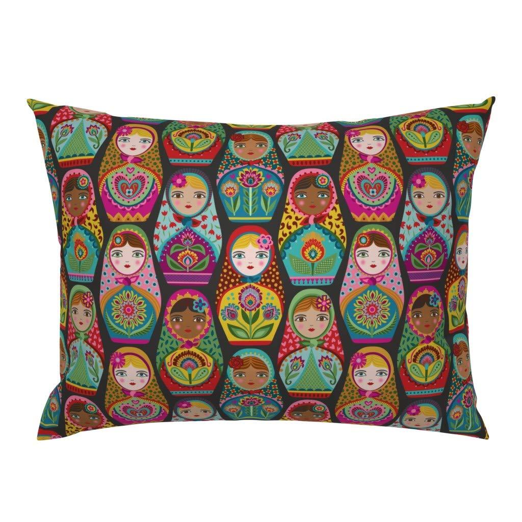 Roostery Pillow Sham, Matryoshka Doll Russian Nesting Black Maiden Folk Sisterhood Women Print, 100% Cotton Sateen 26in x 20in Knife-Edge Sham by Roostery