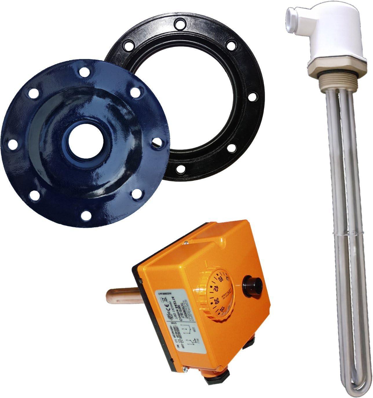 bis 500 Liter Flanschdeckel und Dichtung 6kW Elektroheizstabset Thermoregler - 6kW Heizelement 3 x 230V