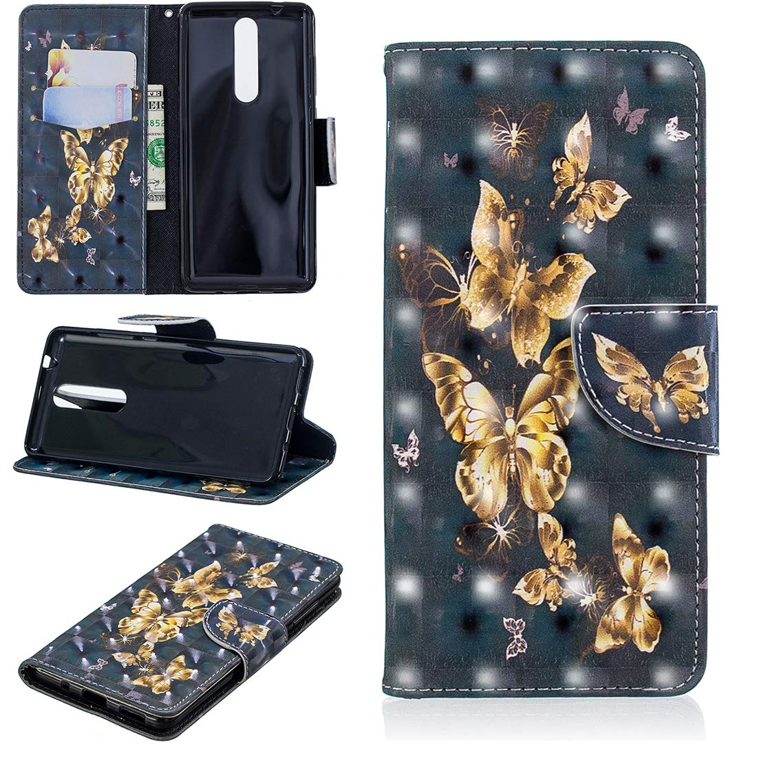 Lyzwn Custodia Nokia 5.1/Nokia 5 2018 Cases Flip in Pelle 3D PU Cuoio Copertura Case Cover con Wallet Portafoglio Supporto Carte Chiusura Magnetica Caso Copertina per Nokia 5.1/Nokia 5 2018