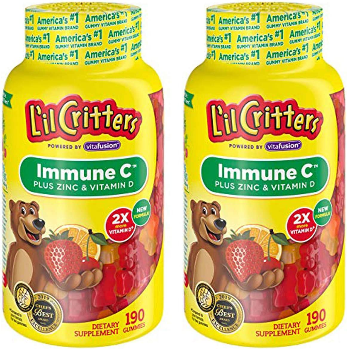Lil Critters LLLNFXMQ Immune C Plus Zinc and Echinacea.2 Pack of 190 Count
