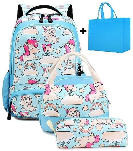 f4b6df1d63 Zaino Unicorno Bambina Zaini Set per la Scuola Unicorn Backpack+Borsa per  la Scatola Pranzo
