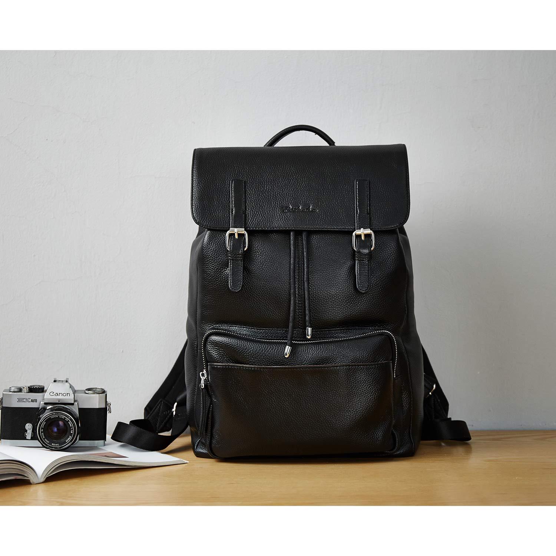 BOSTANTEN Sac /à Dos Cuir V/éritable Hommes Causal Daypack Sac a Dos College Voyage pour Ordinateur 15,6 PC Portable Noir