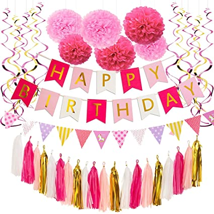 Pink And Gold Birthday Decorations Red White Happy Banner With Foil Letters