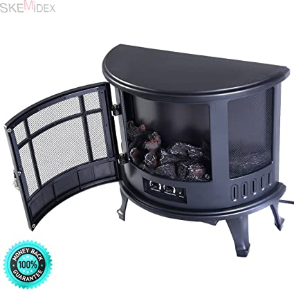 SKEMIDEX Free Standing Electric 1500W Fireplace Heater Fire Flame Stove Wood Adjustable,fireplace design ideas
