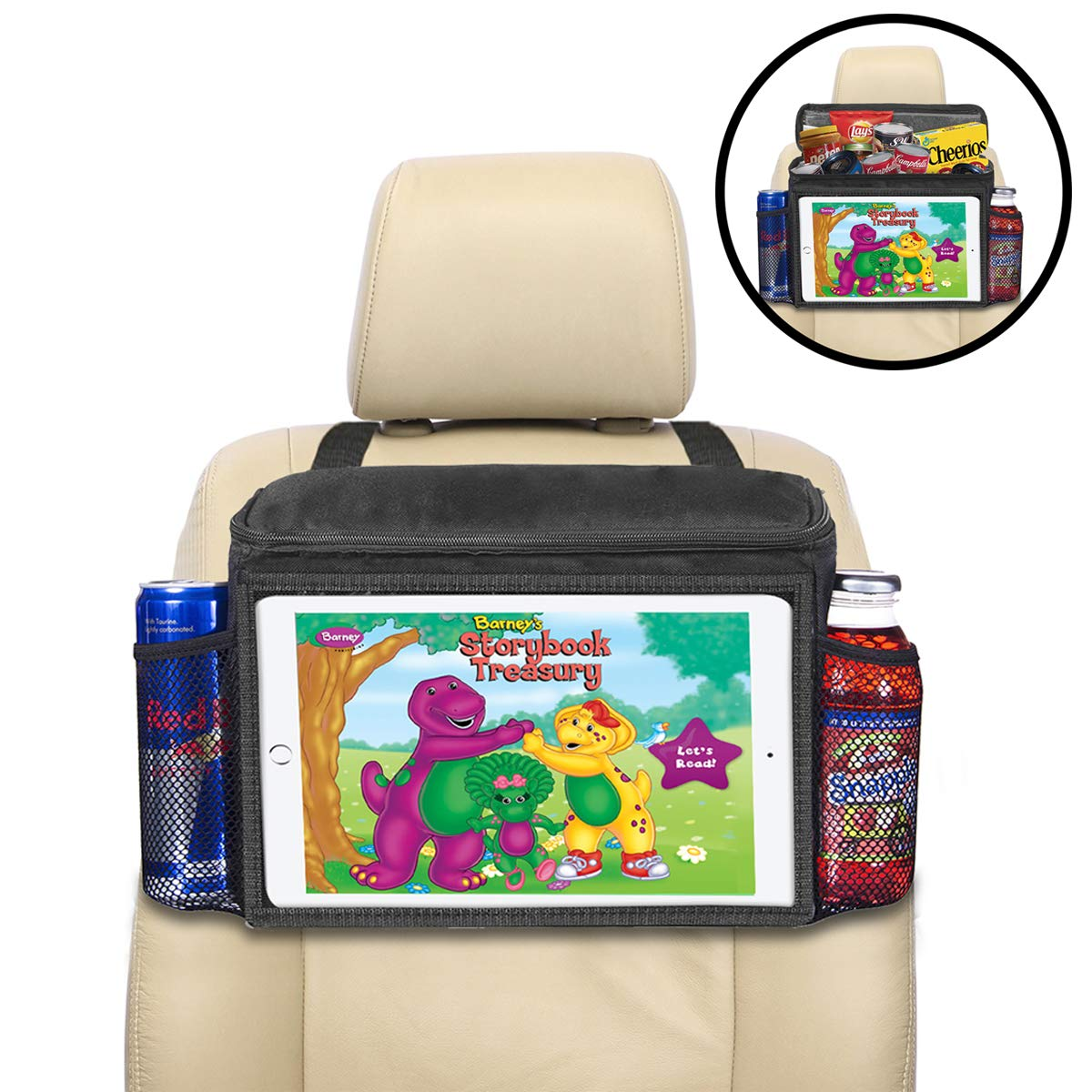 lebogner Insulated Car Seat Back Organizer + iPad and Tablet Holder, Auto Driver Or Passenger Accessories Organizer, Vehicle Front Seat Caddy, Personal Travel Cooler Storage Bag for Adults & Kids by lebogner