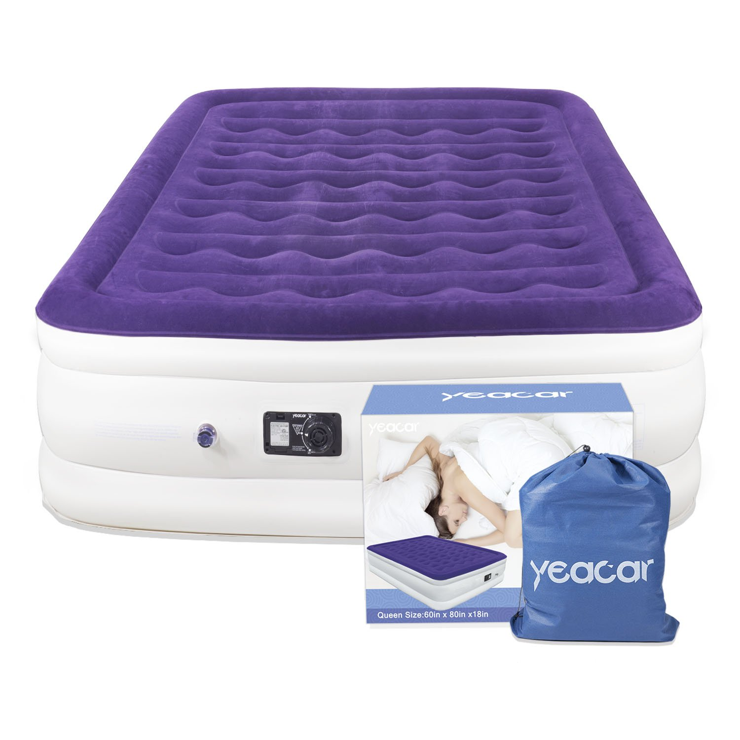 yeacar Air Mattress Blow Up Raised Airbed with Internal High Capacity Pump, Portable Inflatable Bed Queen Size by yeacar (Image #8)
