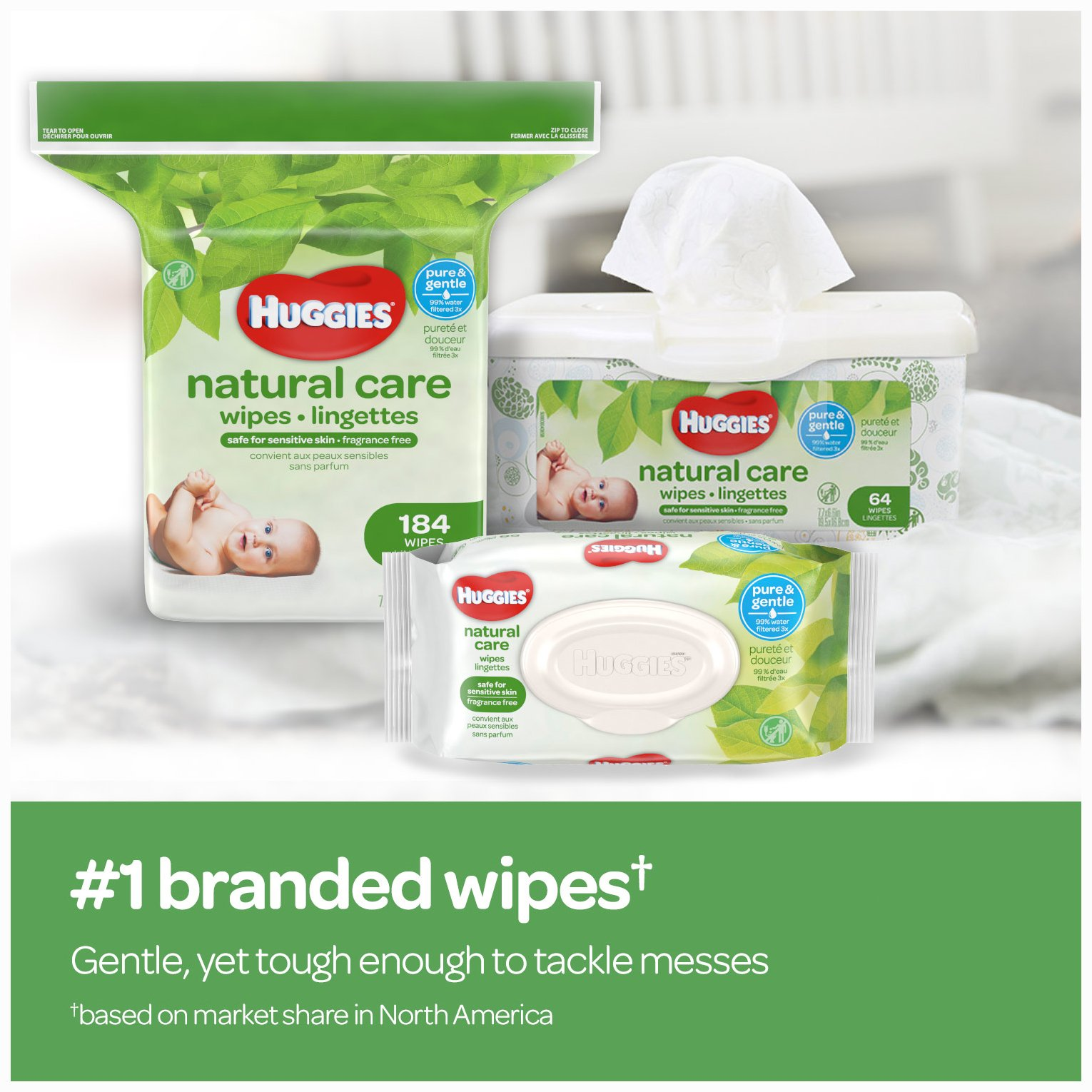Huggies Natural Care Unscented Baby Wipes, Sensitive, Hypoallergenic, Water-Based, 3 Refill Packs, 648 Count Total by HUGGIES (Image #8)