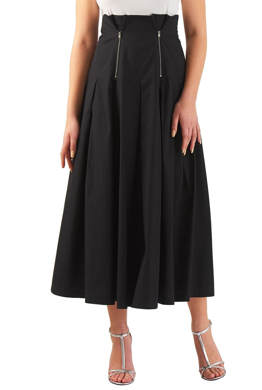 Steampunk Costume Essentials for Women eShakti Womens Metal zip trim cotton poplin skirt $42.95 AT vintagedancer.com