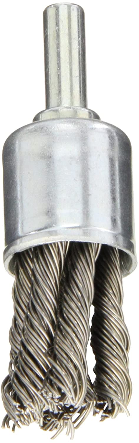 3//4 Diameter 1//4 Shank Diameter 0.020 Wire Size Carbon Bristles Pack of 1 Norton Stem Mounted Knotted End Brush