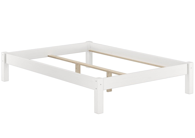 Erst-Holz® Weißes Bettgestell Kiefer Doppelbett 140x200 Massivholzbettgestell ohne Rollrost 60.35-14 W oR
