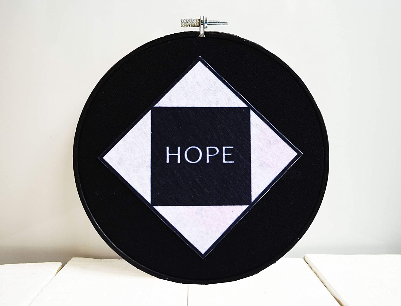 Amazon Com Monochrome Home Decor Hoop Art Hope Wall Tumblr Room Aestheric Gift Contemporary Decoration Handmade