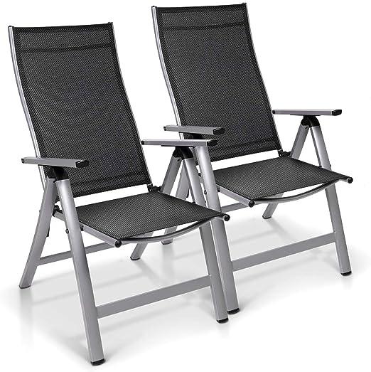 Homeoutfit24 Sun Garden Premium Line - Juego de 2 sillas de jardín con respaldo alto London en plata, sillas plegables de aluminio: Amazon.es: Hogar