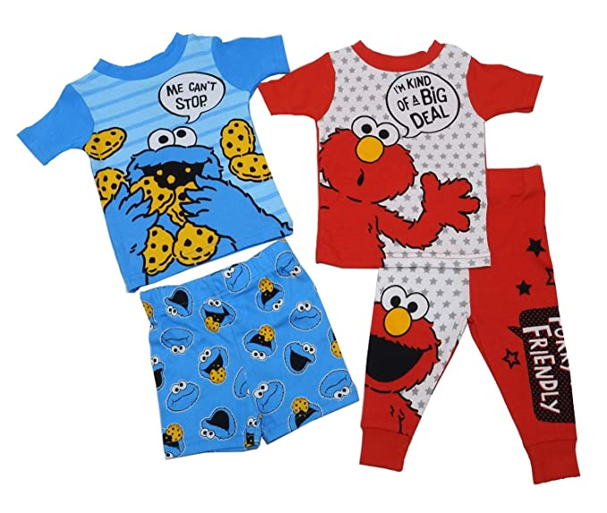 e4857eac5 AME Sesame Street Cookie Monster & Elmo Baby Boys Cotton Pajama Set (12  Months)