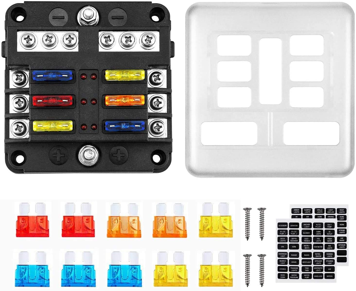 [DIAGRAM_4FR]  Amazon.com: Kohree 6 Way 12V Blade Fuse Block 12 Volt Waterproof Fuse Box  Holder, 6 Circuit W/Negative Bus Fuse Box with LED Indicator for 12V/24V  Automotive Truck Boat Marine RV Van Vehicle: | 12 Volt Fuse Box |  | Amazon.com