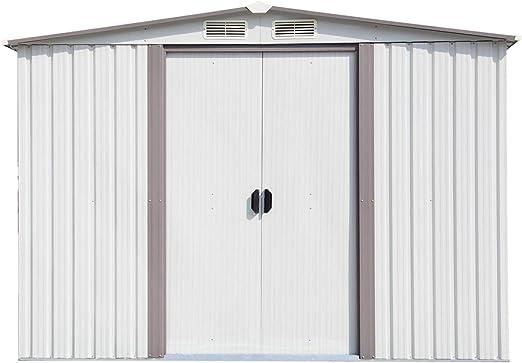 Kinbor - Herramienta de almacenamiento para jardín de acero blanco ...