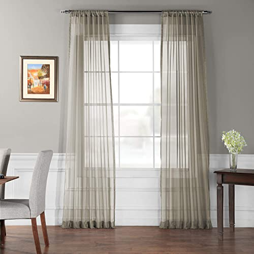 HPD Half Price Drapes SHCH-VOL6-120-PR Solid Voile Poly Sheer Curtain Pair 2 Panels , 50 X 120, Museum Grey
