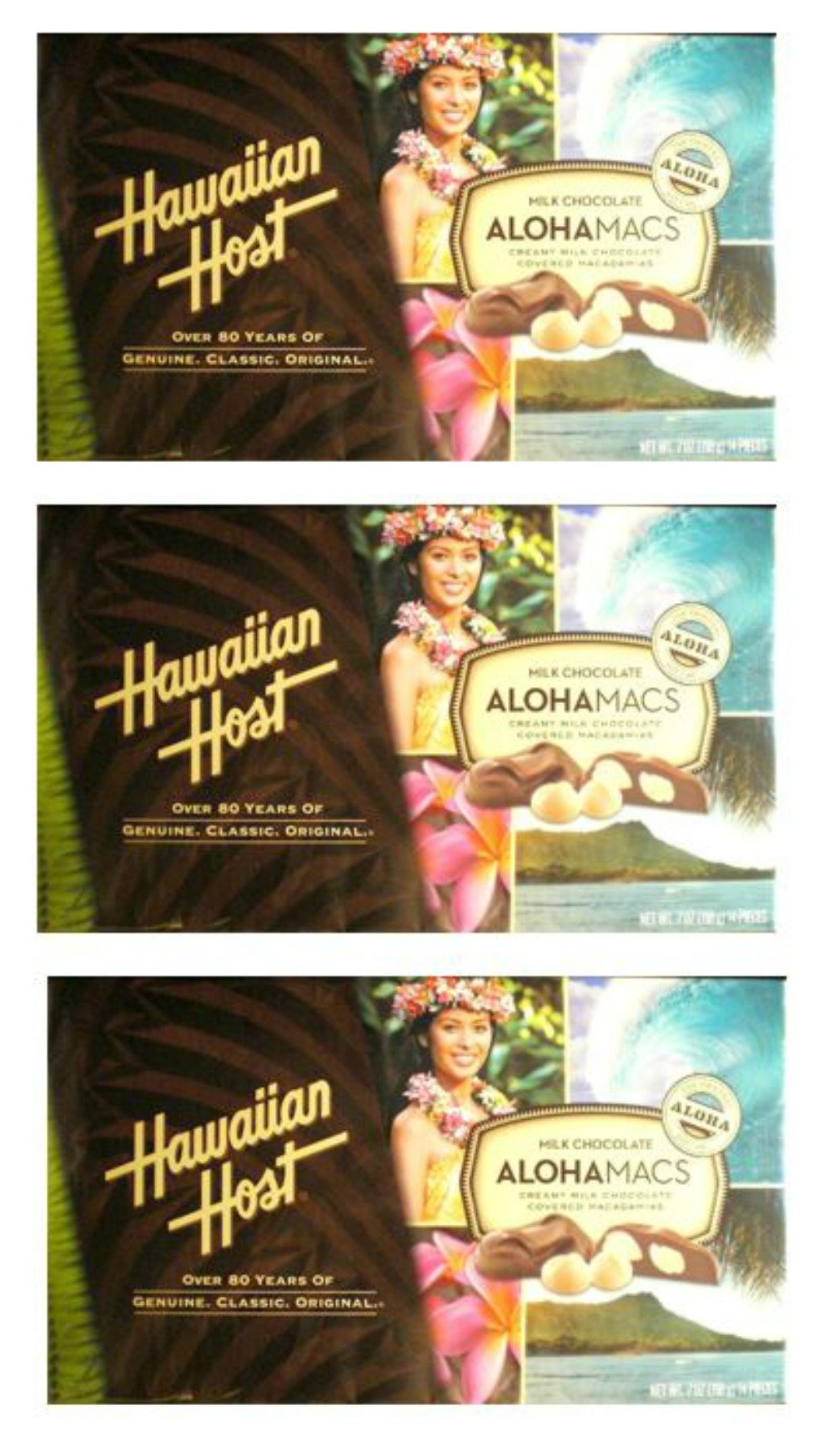 Hawaiian Host Value Pack Macadamia Nuts Milk Chocolate 3 AlohaMac Boxes by Hawaiian Host (Image #1)