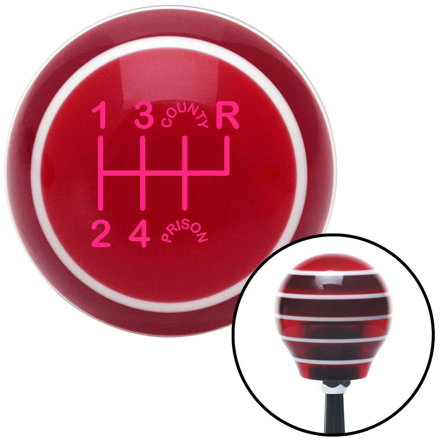 American Shifter 118079 Red Stripe Shift Knob with M16 x 1.5 Insert Pink Shift Pattern CP26n