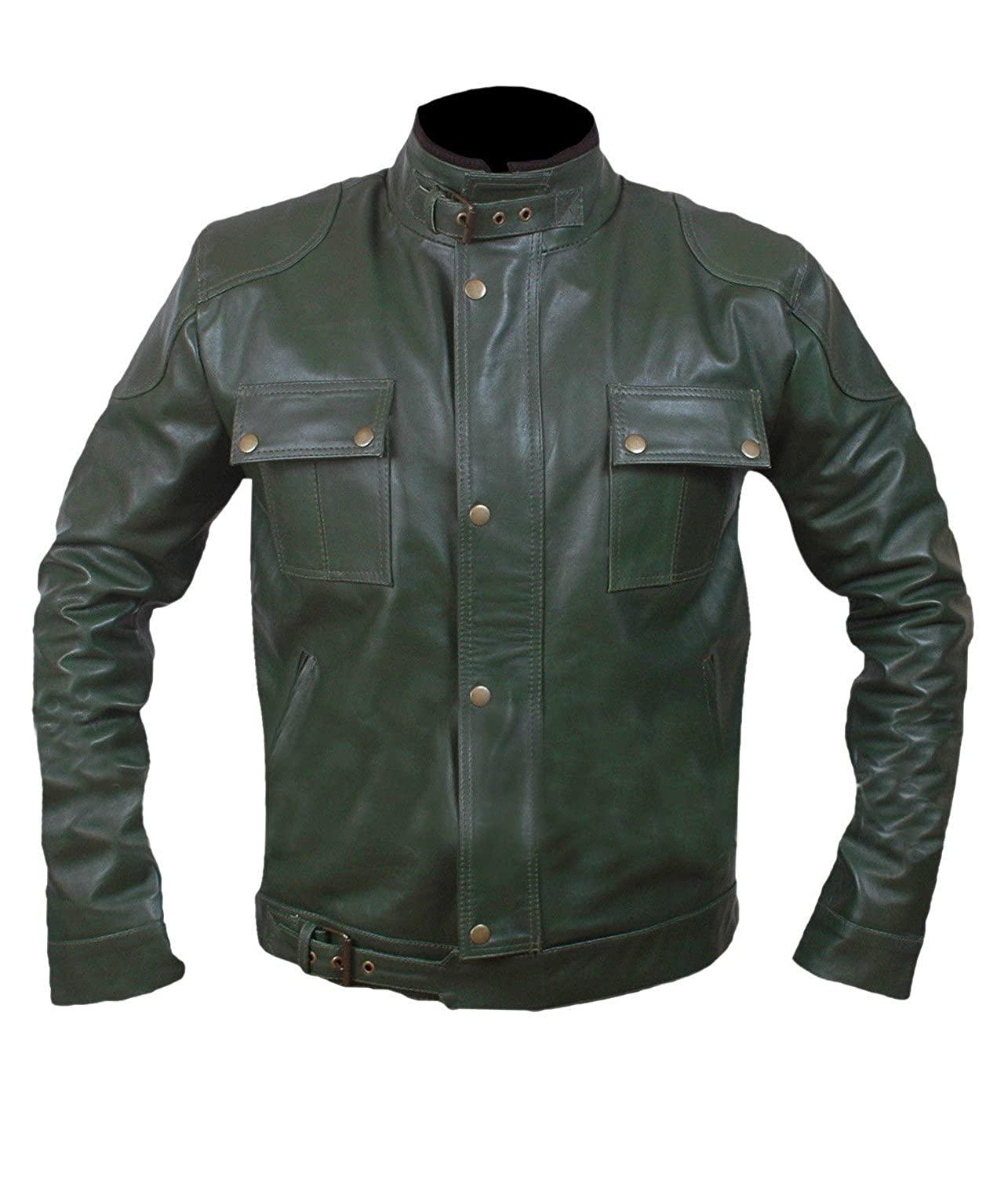 Wanted Wesely Gibson Dirty Green Leather Jacket- Perfect Halloween Costume