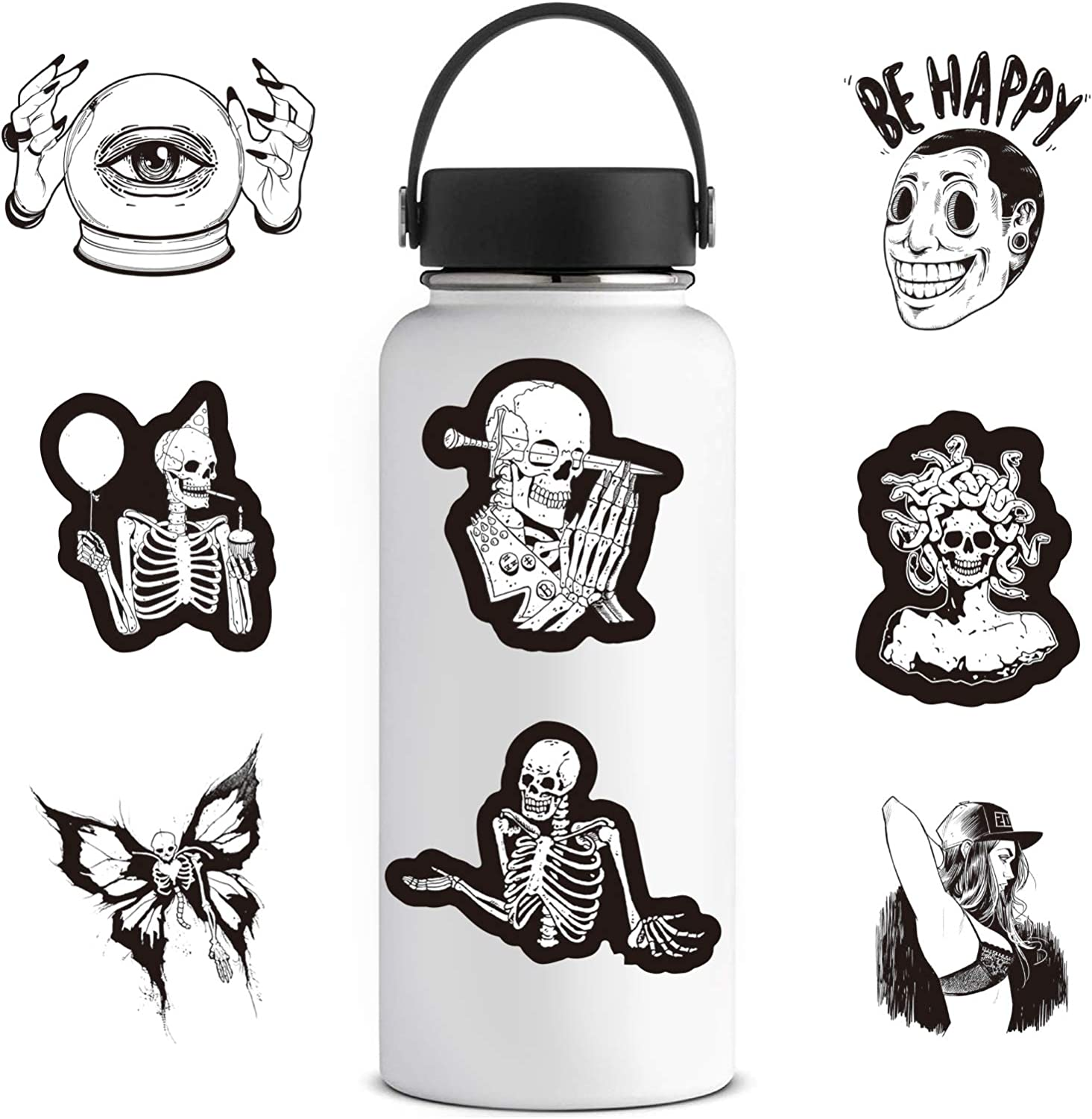 ZZHH Black White Gothic Wind Sticker Horror and Thriller Graffiti Sticker for Laptop Bicycle Skateboard Car Decal Sticker 50Pcs