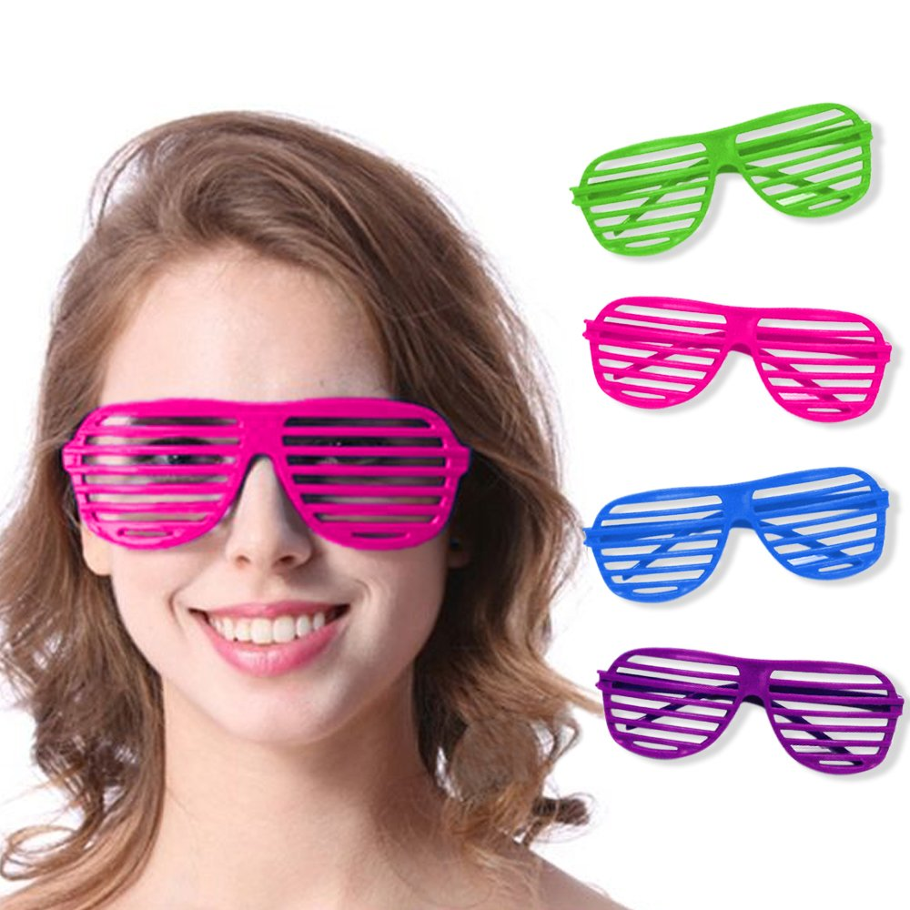 Novelty Place Neon Color Shutter Glasses 80's Party Slotted Sunglasses for Kids & Adults - 24 Pairs (4 Colors)