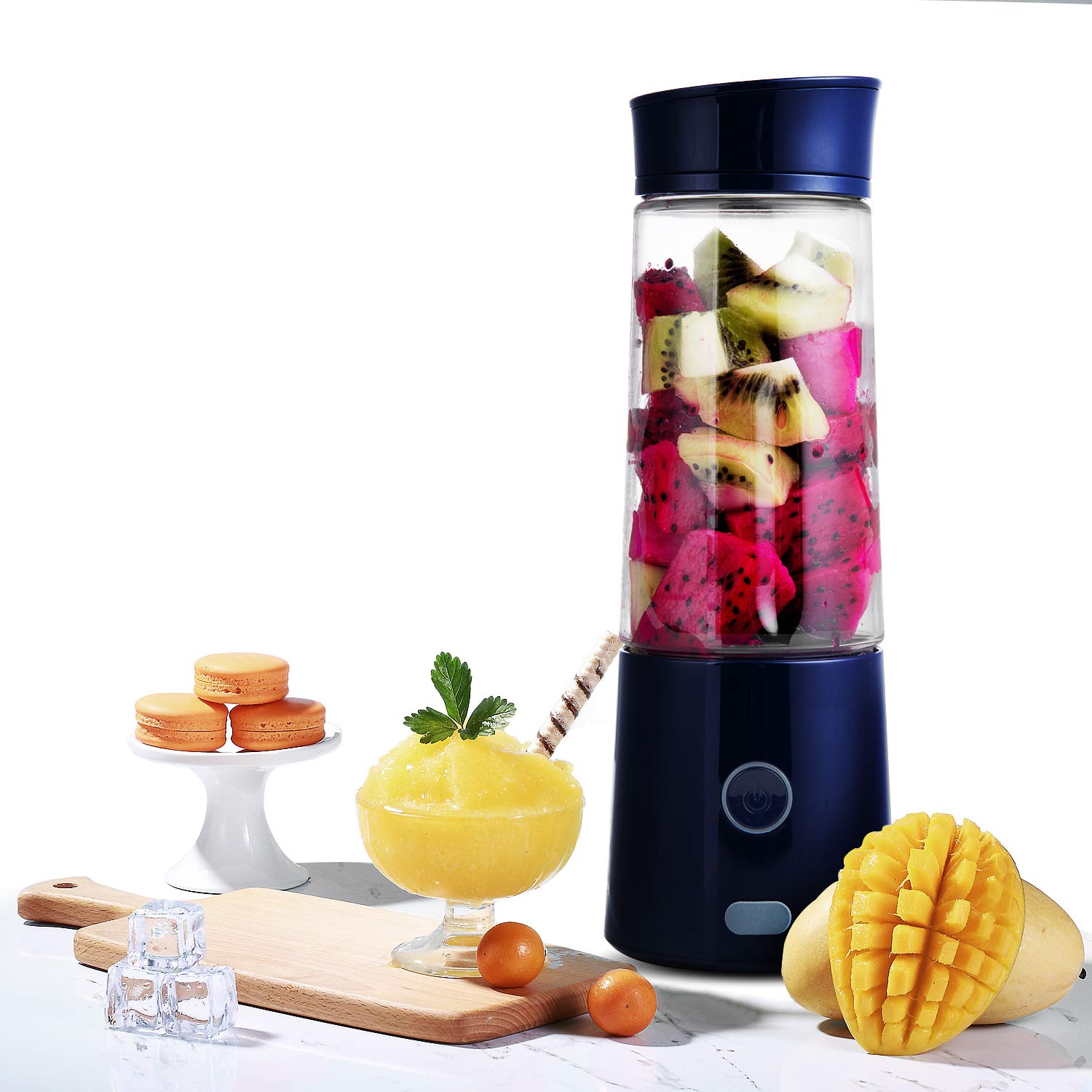 Portable Blender, Kacsoo Macaron M620 Mini Blender Personal Smoothie Fruit Mixer Juicer Cup, Single Serve, Multifunctional Lightweight USB Rechargeable Travel Blender for Shakes and Smoothies, with 5200 mAh Rechargeable Battery, FDA BPA Free (Blue)