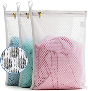 TENRAI 3 Pack (3 S) Delicates Laundry Bags, Socks Fine Mesh Wash Bag for Underwear, Lingerie, Bra, Boxer, Use YKK Zipper, Have Hanger Loops Small Openings (S Grade, QS)