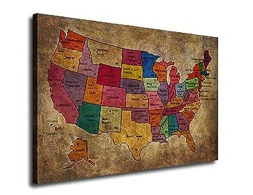 Amazoncom Canvas Art Map Painting of United States of America